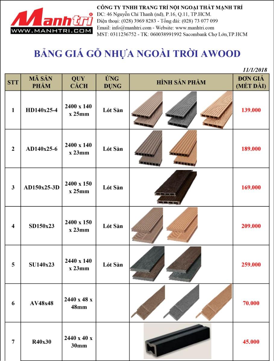Báo giá gỗ nhựa Awood 2018