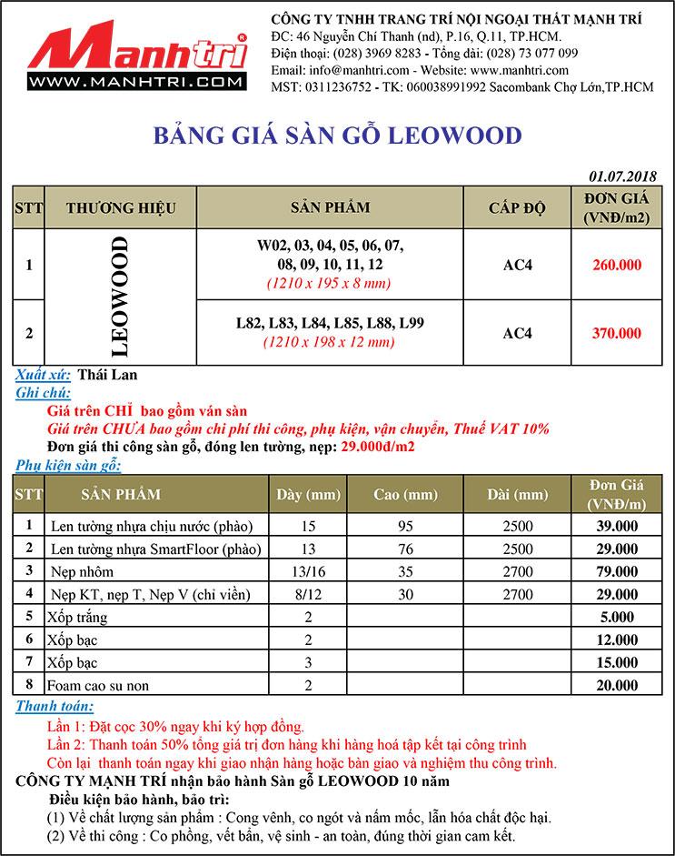 Bảng giá sàn gỗ Leowood