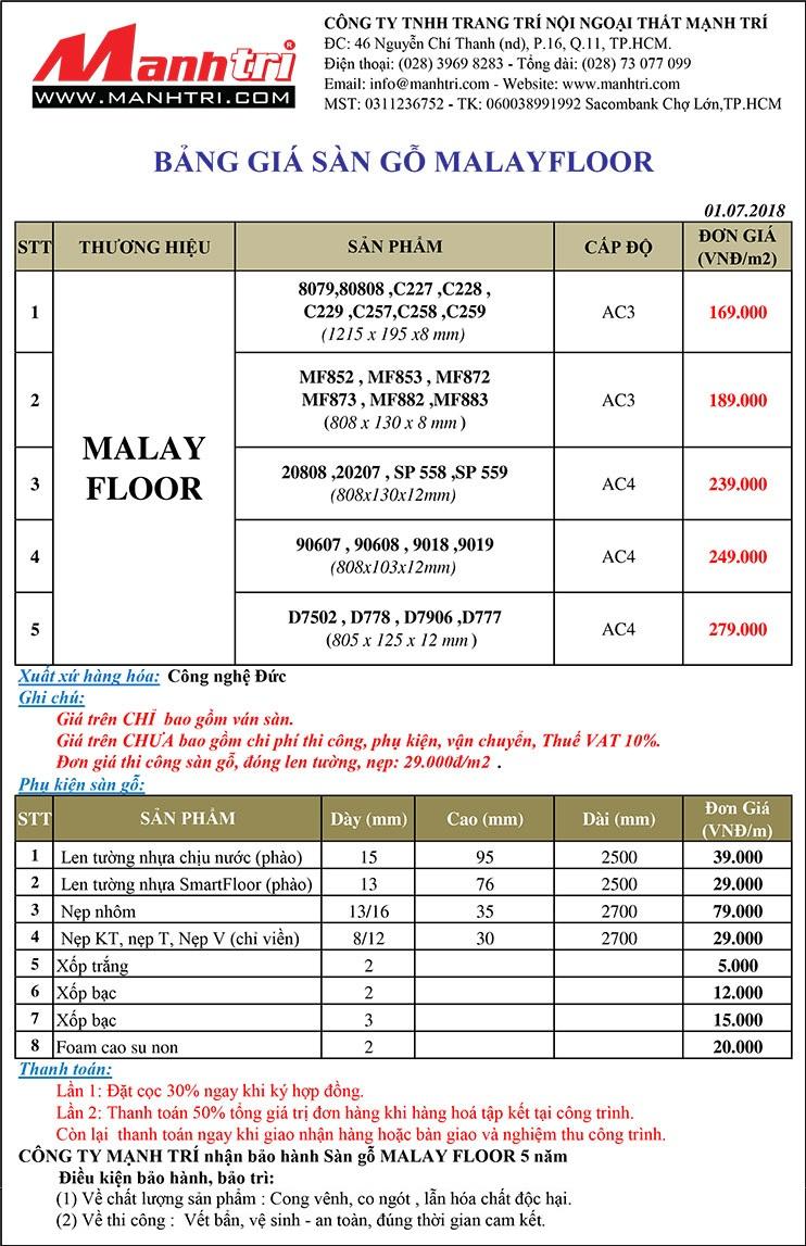 Bảng giá sàn gỗ Malay Floor