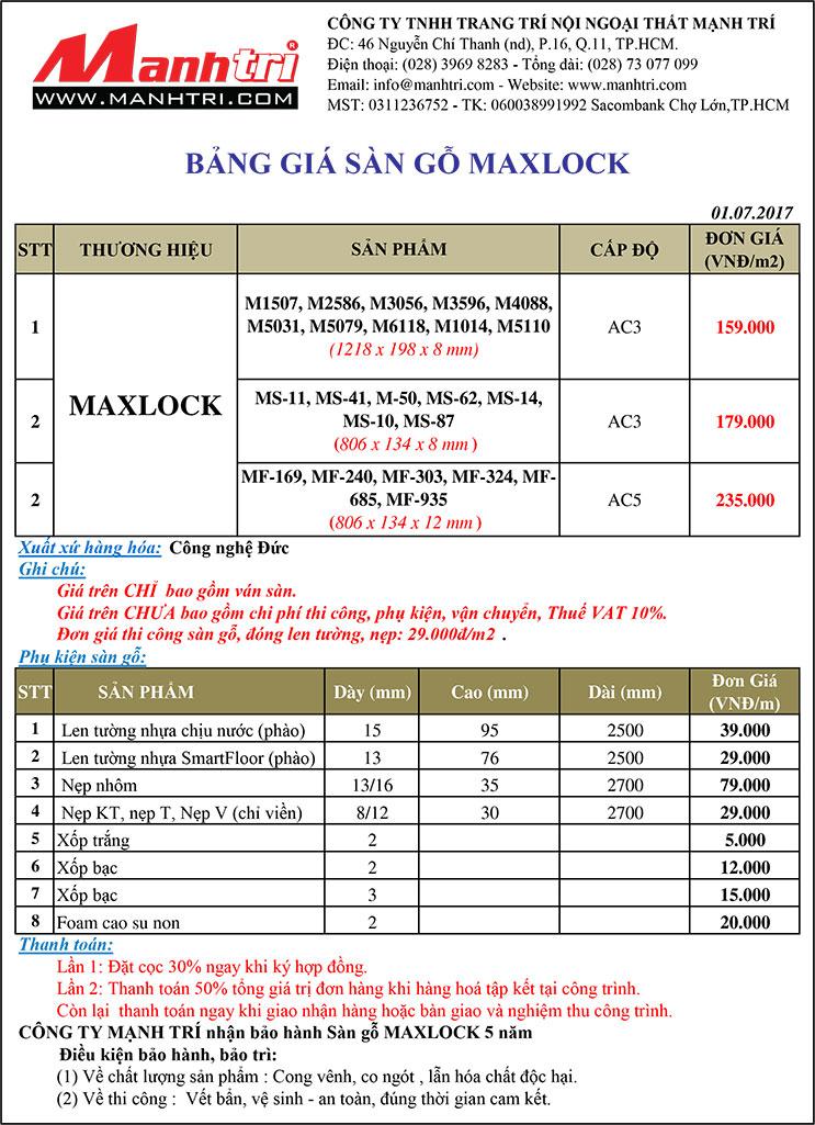 Bảng giá sàn gỗ Maxlock