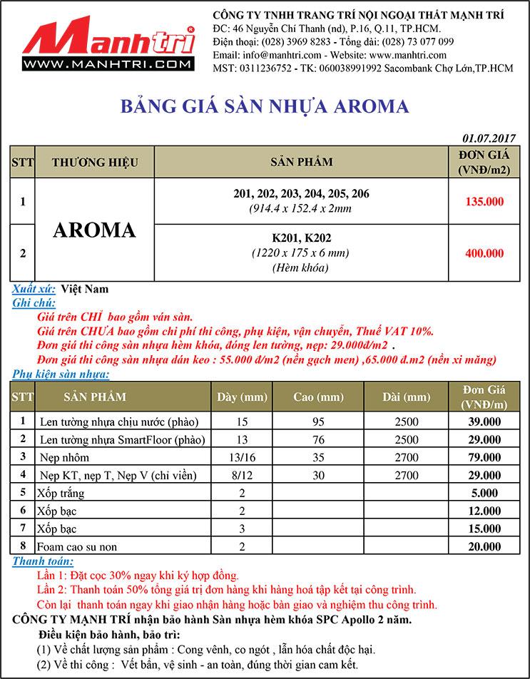 Bảng giá sàn nhựa Aroma