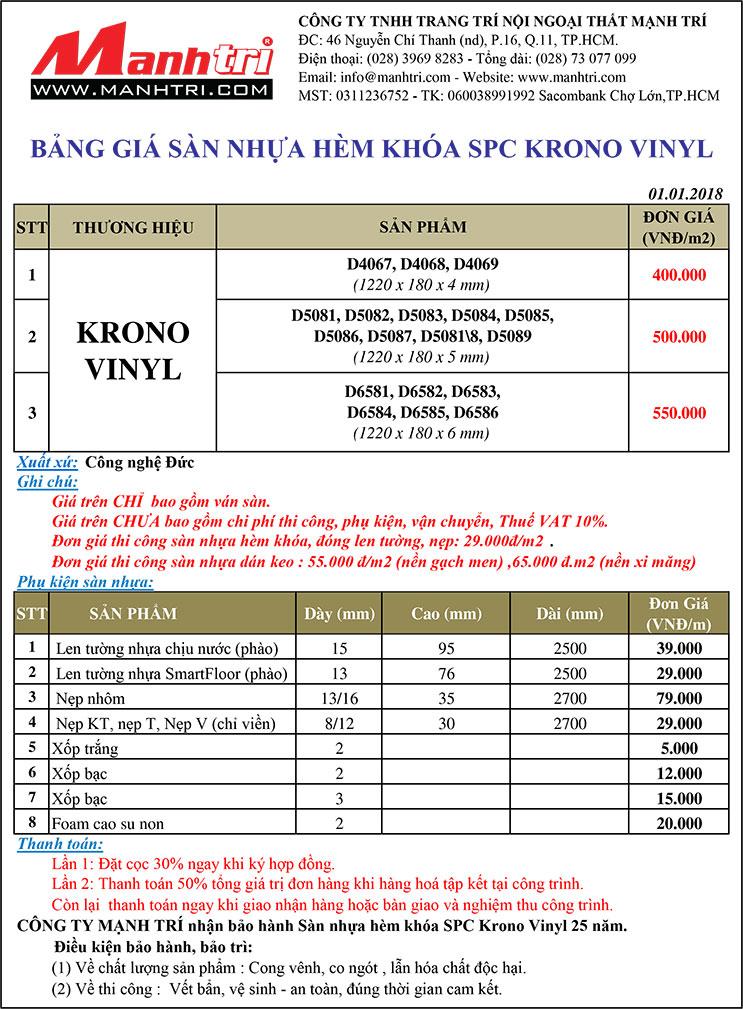 Bảng giá sàn nhựa Krono Vinyl