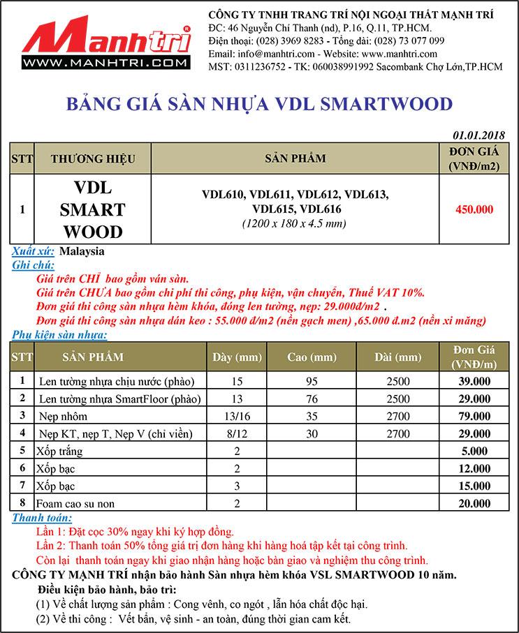 Bảng giá sàn nhựa VDL SmartWood