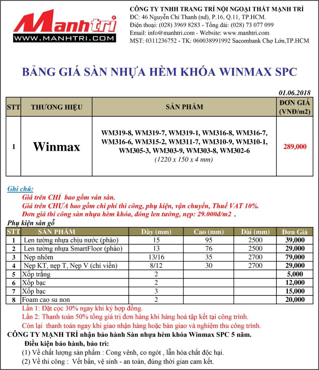 Bảng giá sàn nhựa hèm khóa Winmax SPC