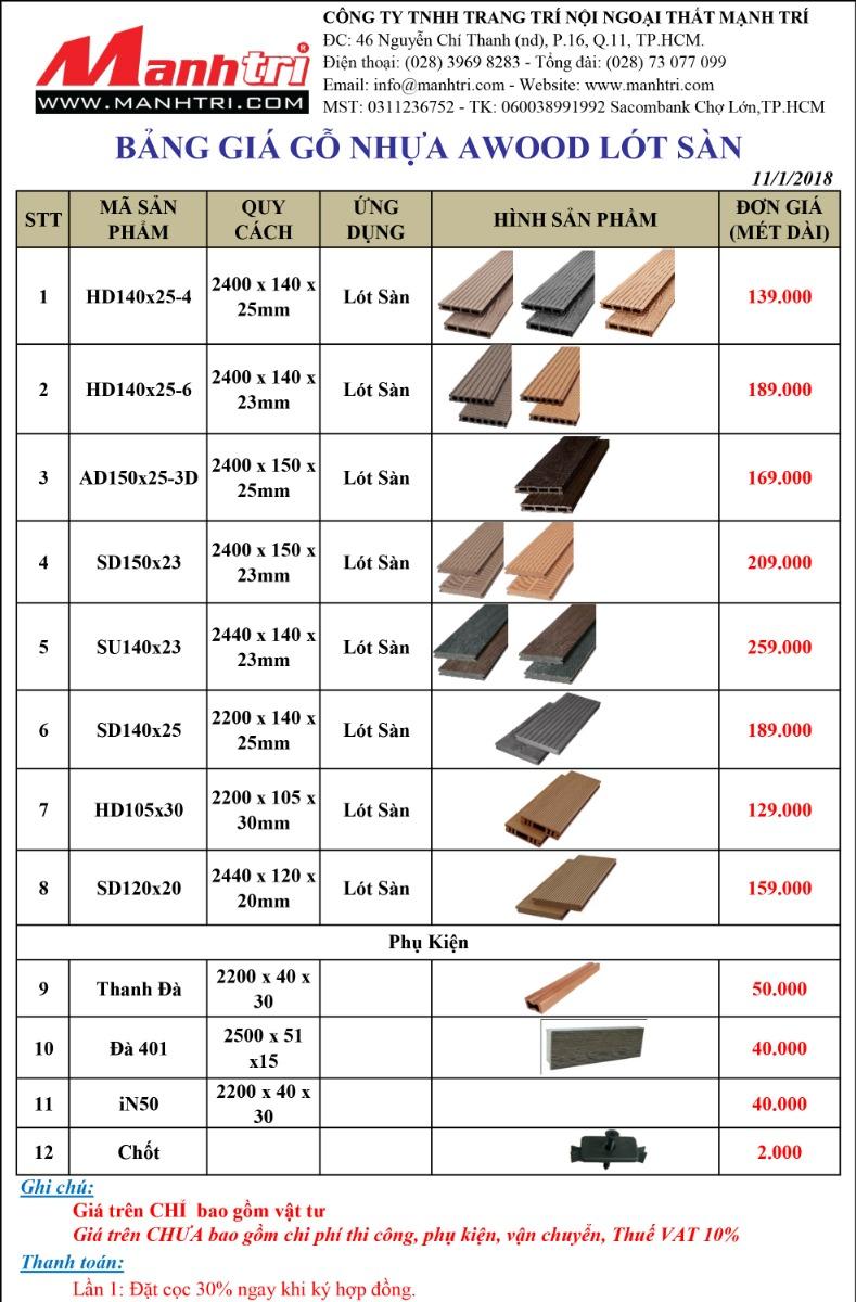 Báo giá gỗ nhựa Awood lót sàn 2018