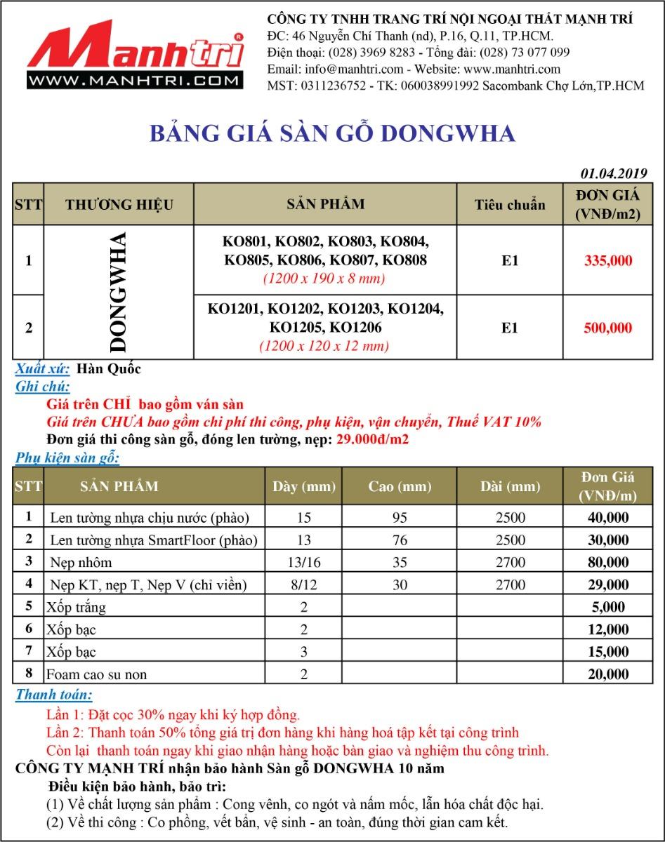 Báo giá sàn gỗ Dongwha
