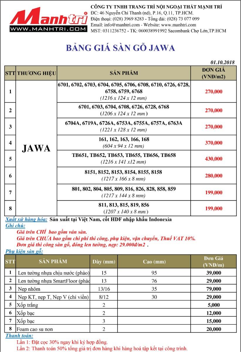 Bảng giá sàn gỗ Jawa