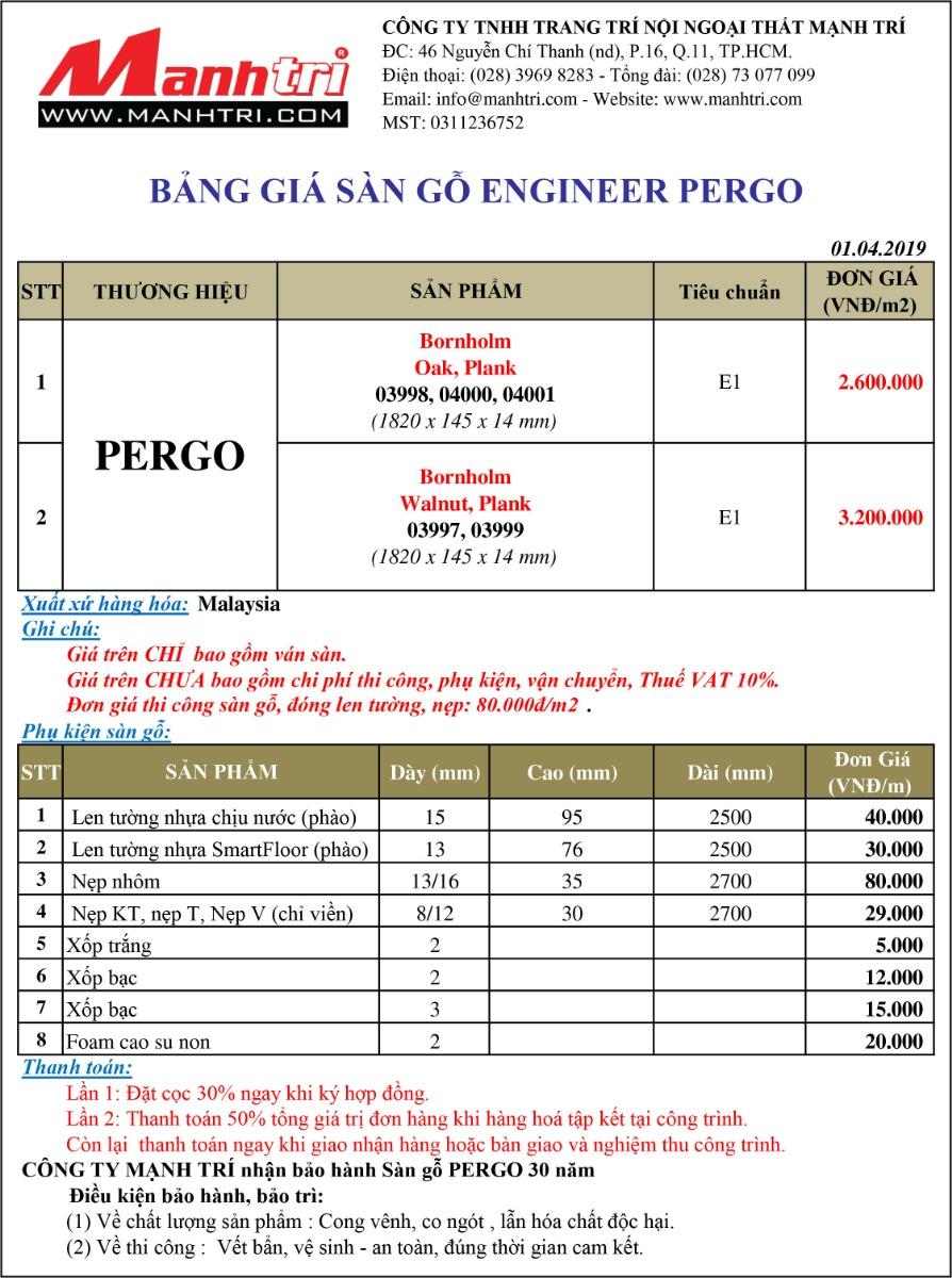 Bảng giá sàn gỗ Engineer Pergo