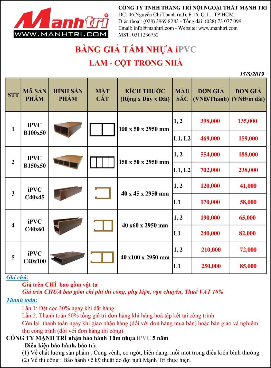 Bảng báo giá Tấm nhựa iPVC Lam - Cột