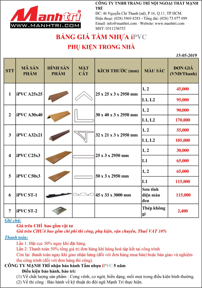 Bảng báo giá Phụ kiện tấm nhựa iPVC
