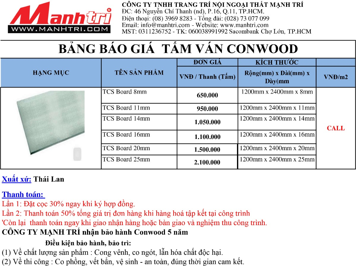Bảng giá Conwood tấm Board