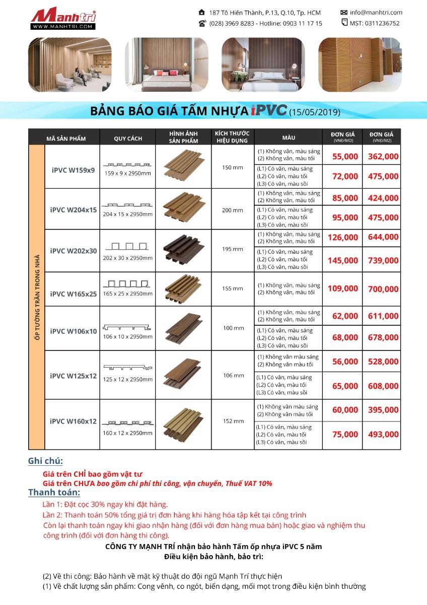 Bảng báo giá Tấm nhựa iPVC ốp tường, trần