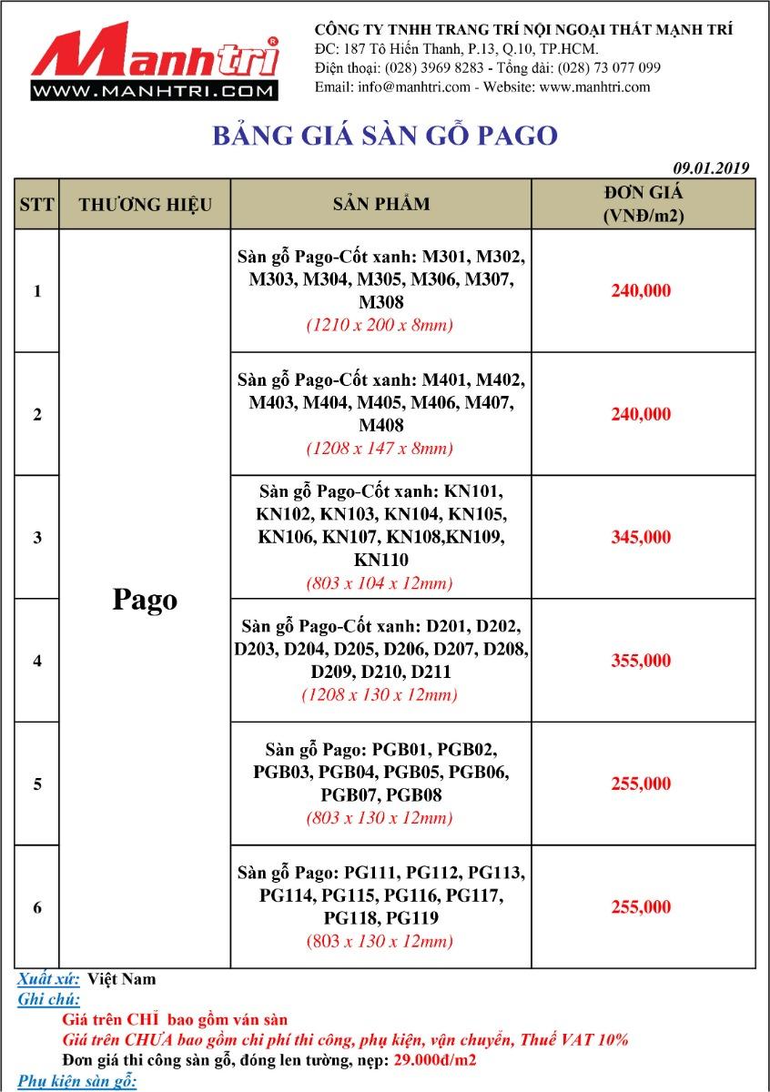 Bảng giá sàn gỗ Pago