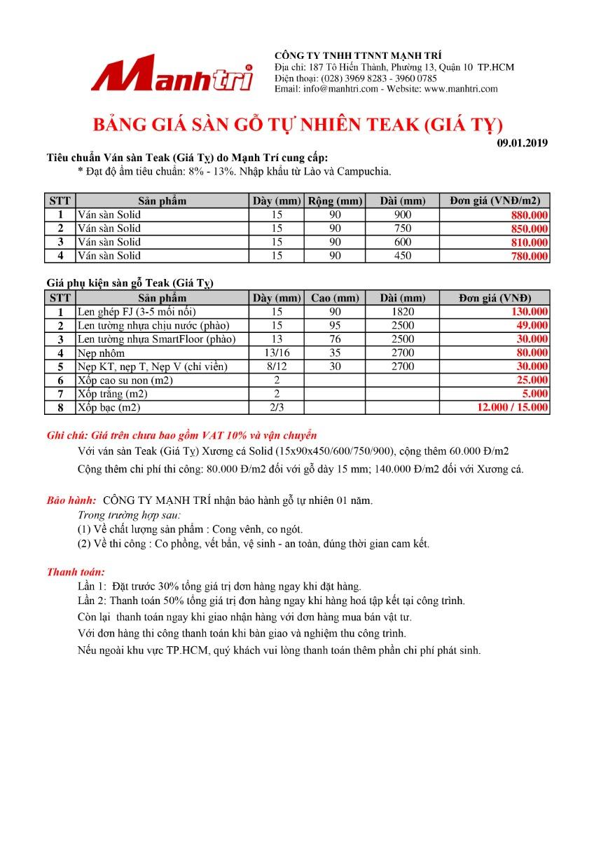Bảng giá sàn gỗ Teak (Giá Tỵ)