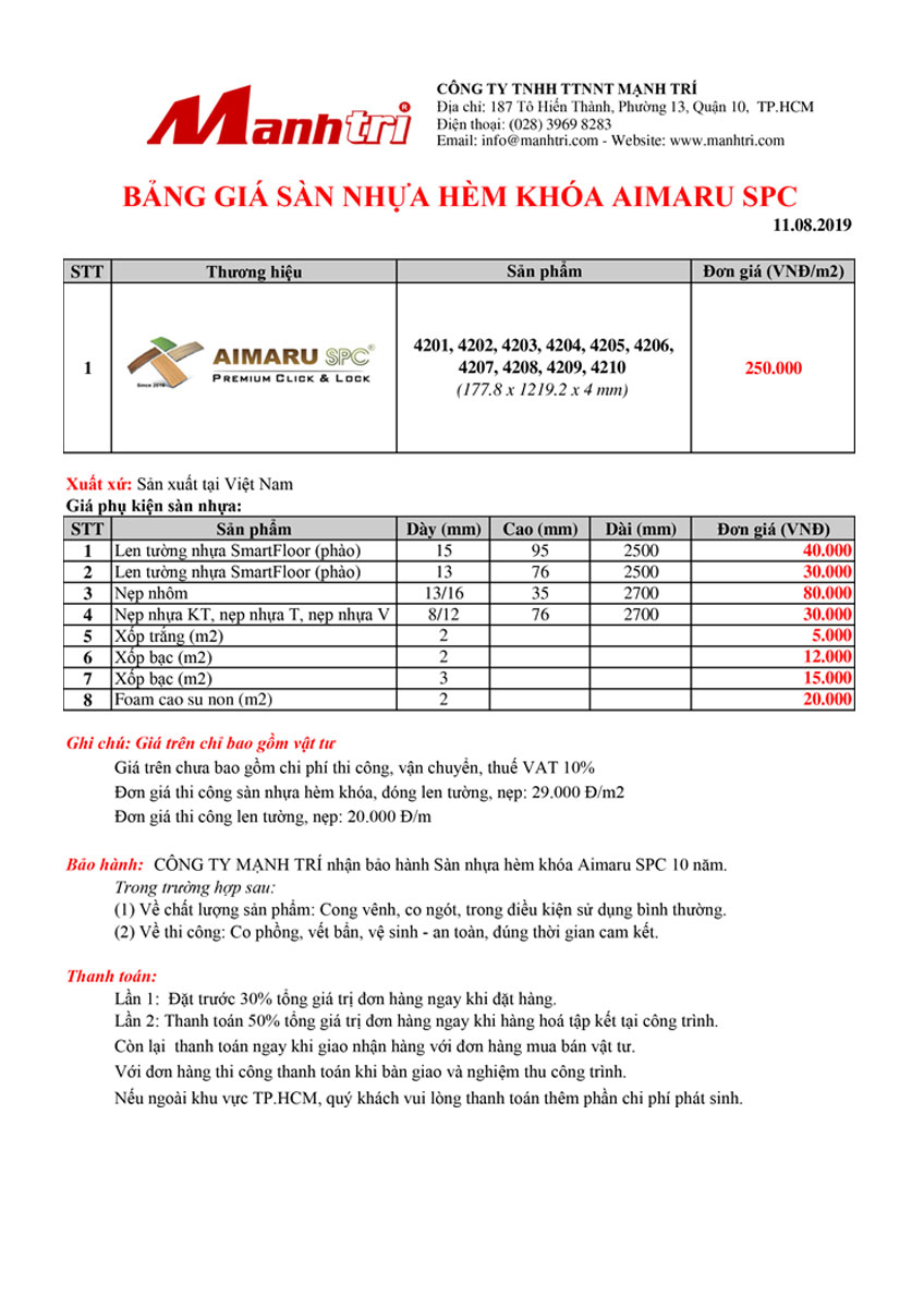 Bảng giá sàn nhựa hèm khóa Aimaru SPC