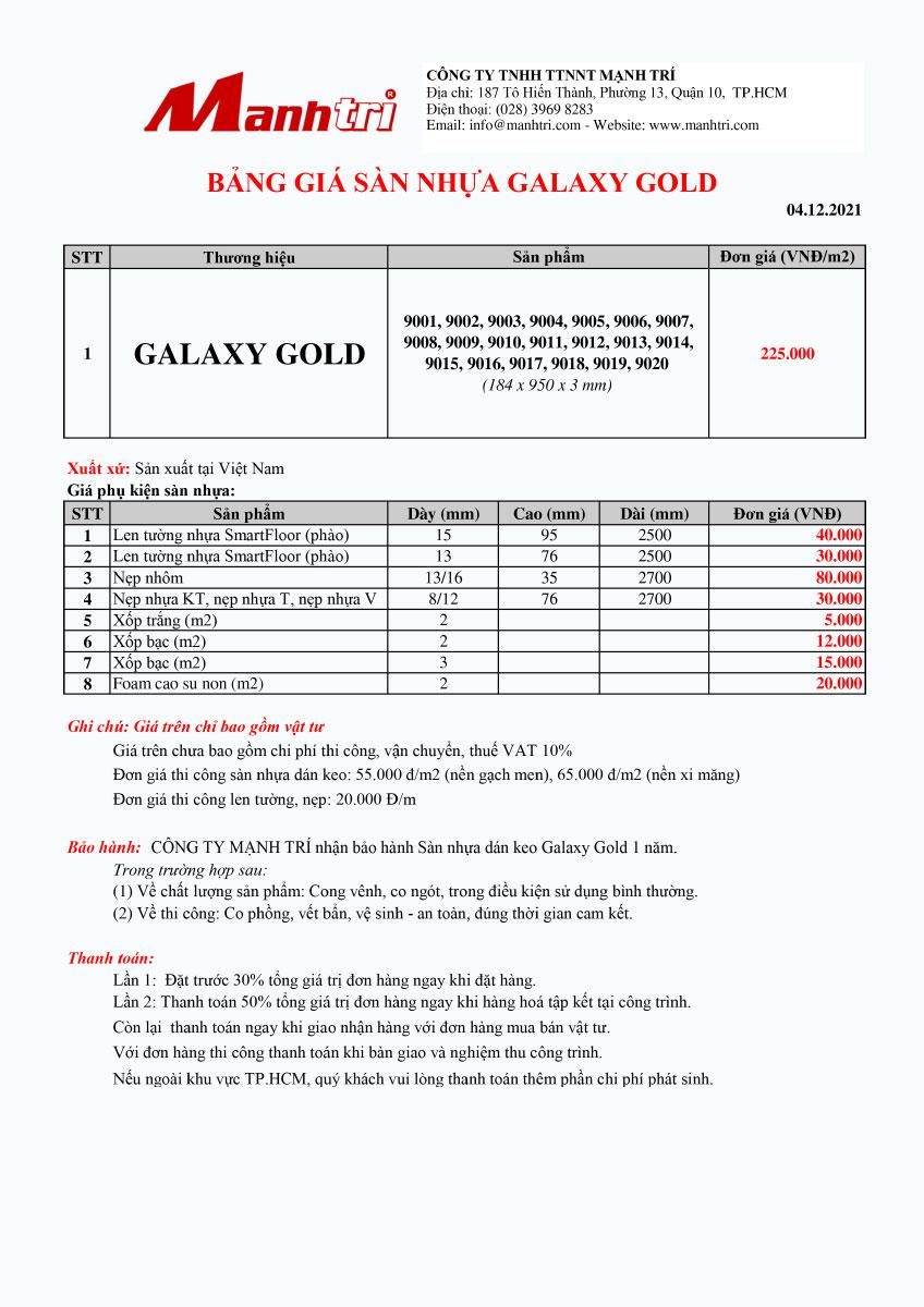 Bảng giá sàn nhựa Galaxy Gold