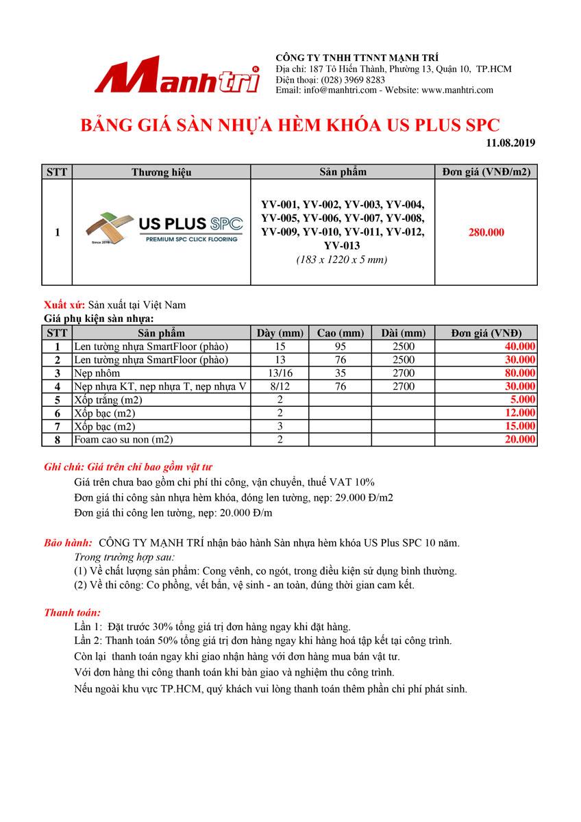 Bảng giá sàn nhựa hèm khóa US Plus SPC