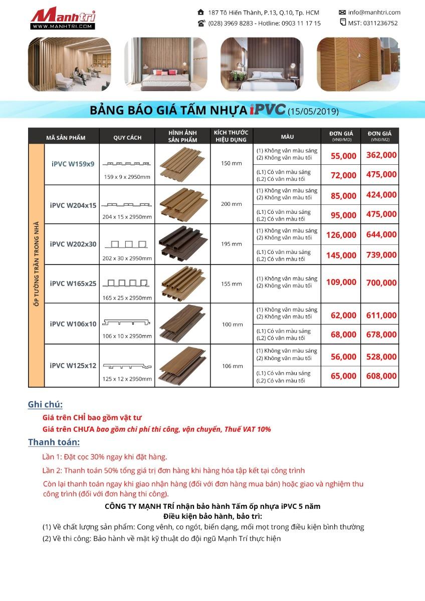Bảng báo giá Tấm nhựa iPVC ốp tường-trần