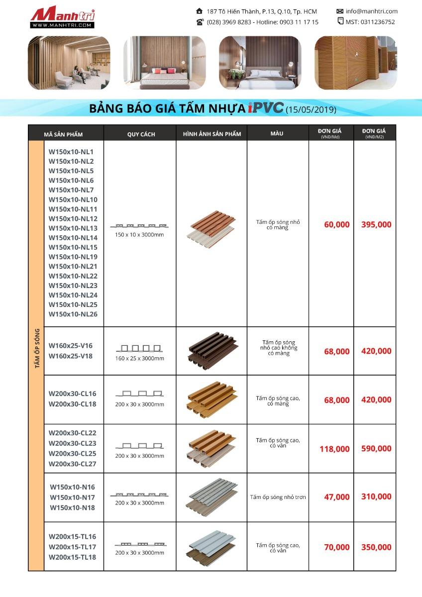 Bảng báo giá Tấm ốp sóng iPVC