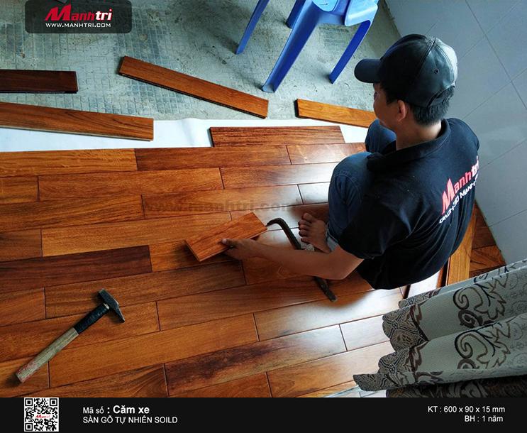 Thi công sàn gỗ tự nhiên Căm Xe Solid tại xã Phước Kiểng, Huyện Nhà Bè