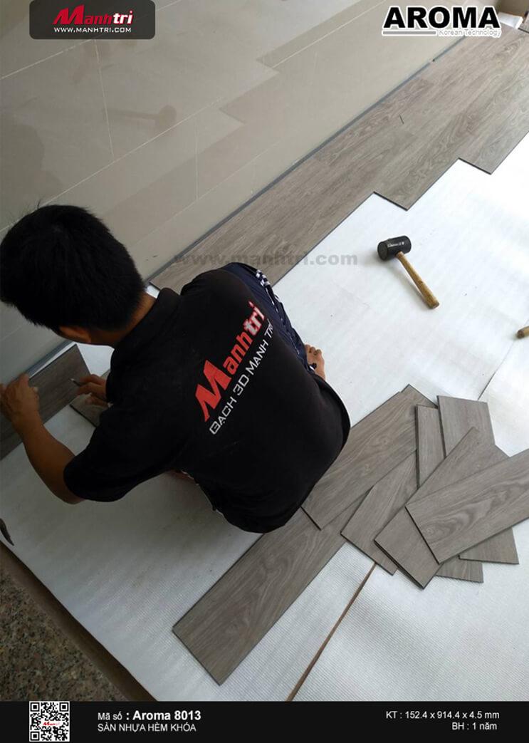 Thi công sàn nhựa hèm khóa Aroma 8013 tại A24/10 Phạm Thế Hiển, phường 3, Q. 8