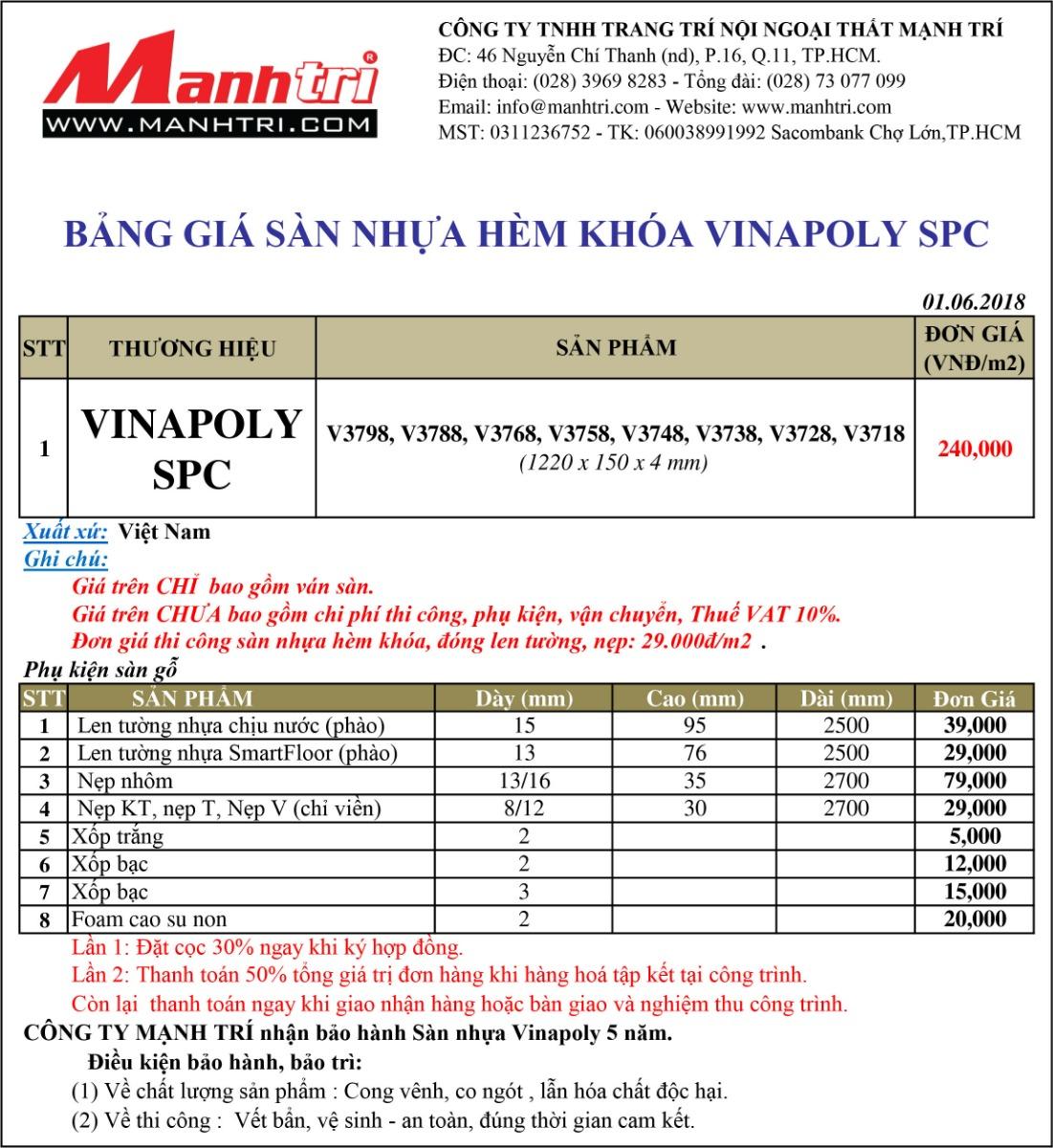 Bảng giá sàn nhựa hèm khóa Vinapoly SPC