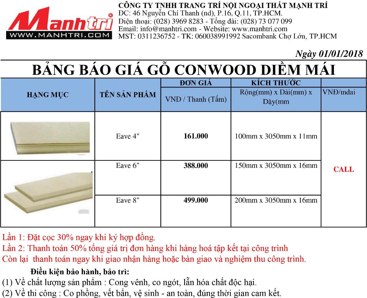 Bảng báo giá gỗ Conwood Diền Mái