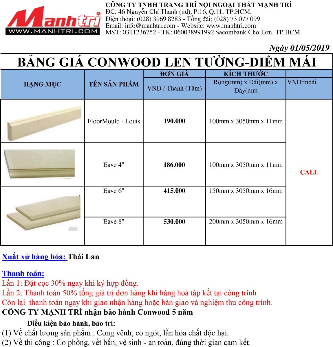 Bảng báo giá gỗ Conwood Len Tường-Diềm Mái