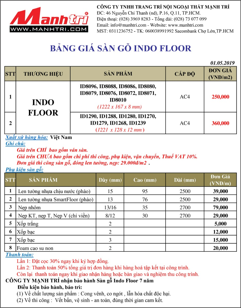 Bảng giá sàn gỗ Indo Floor