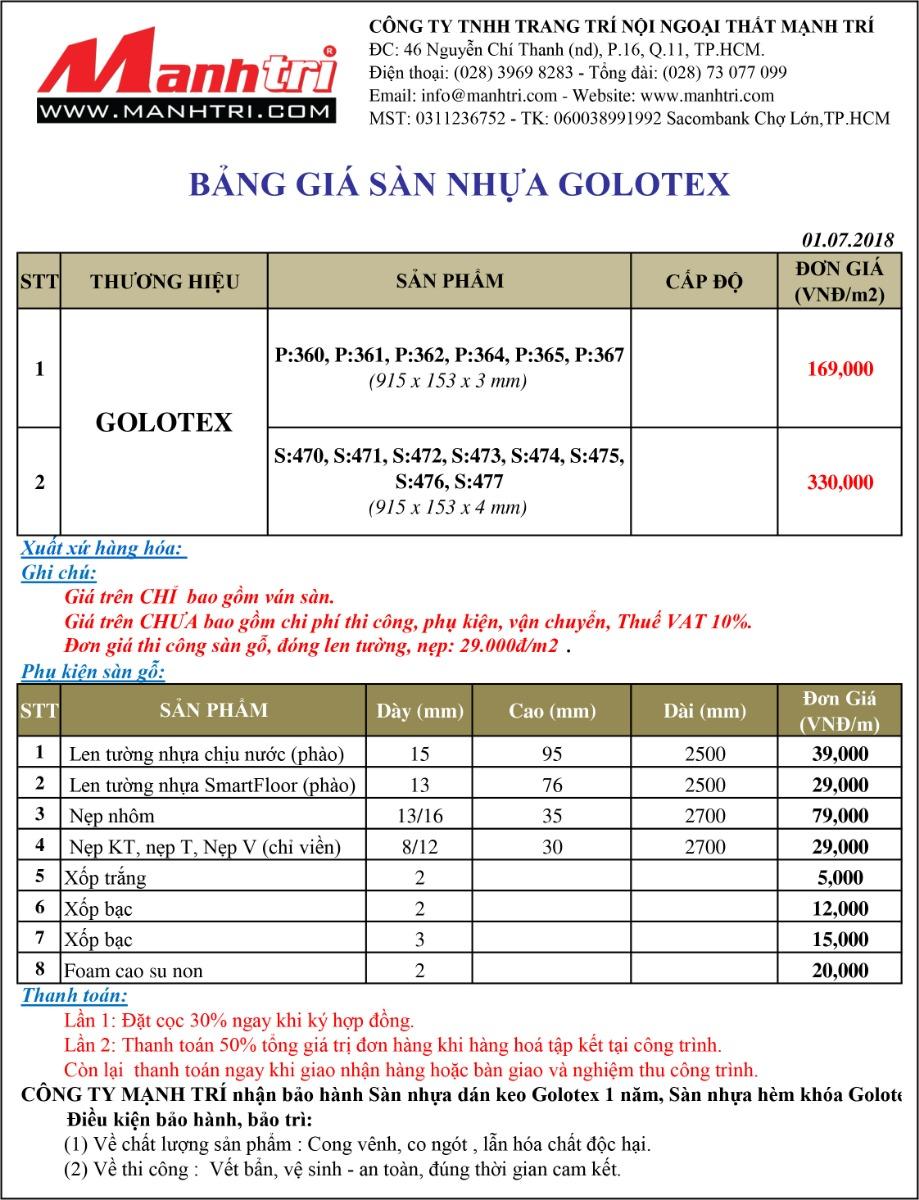 Bảng giá sàn nhựa Glotex