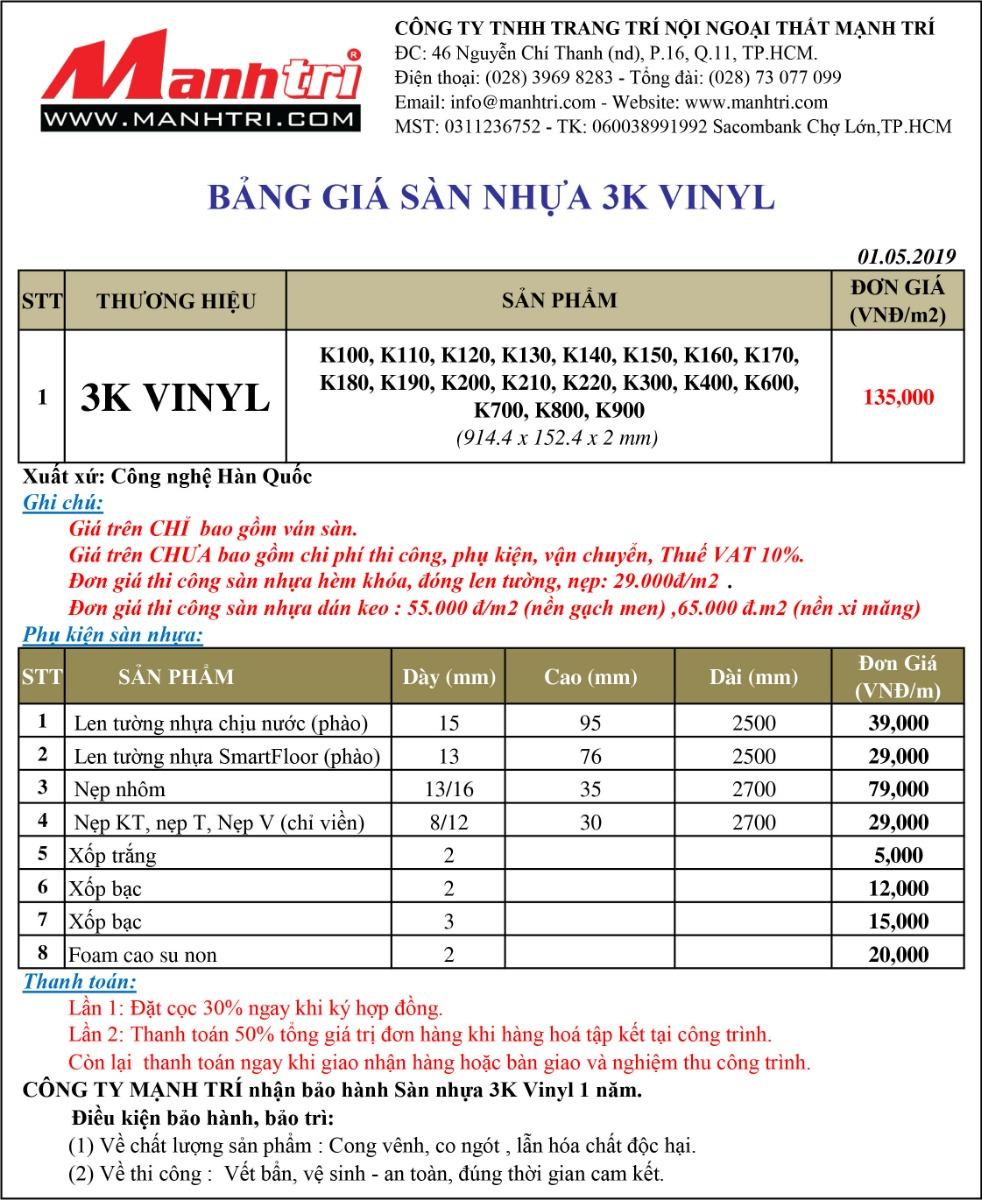 Bảng giá sàn nhựa 3K Vinyl