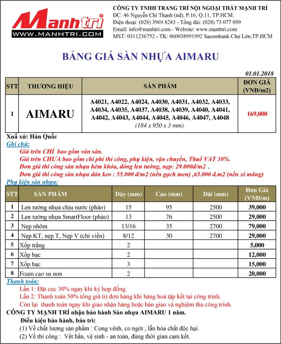 Bảng giá sàn nhựa Aimaru