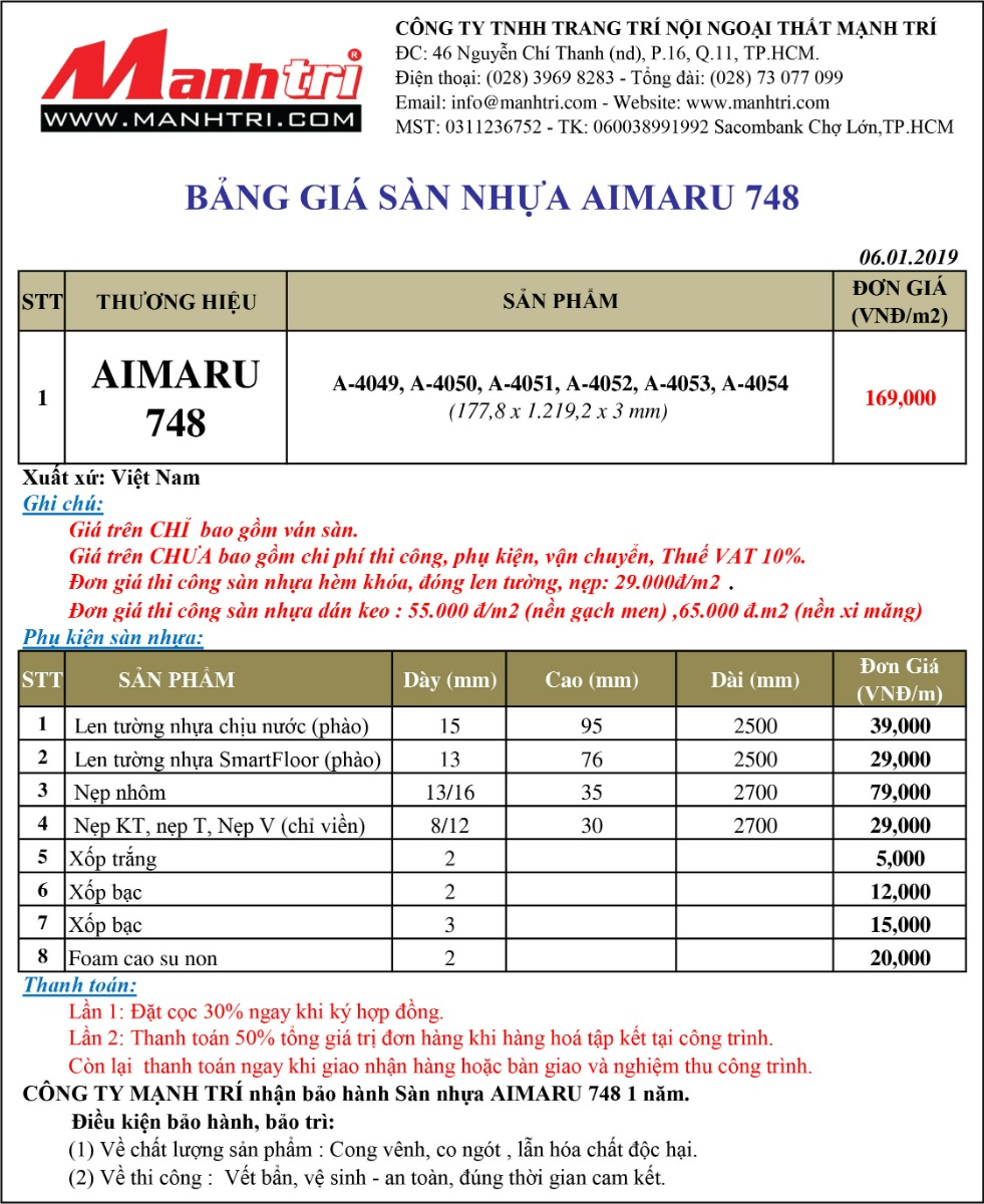 Bảng giá sàn nhựa Aimaru 748