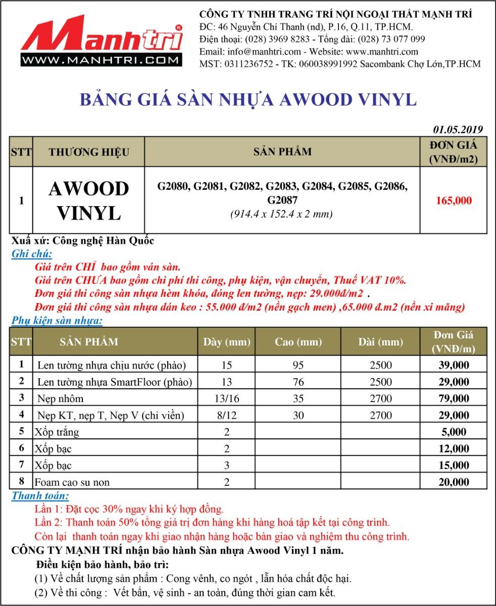 Bảng giá sàn nhựa Awood Vinyl