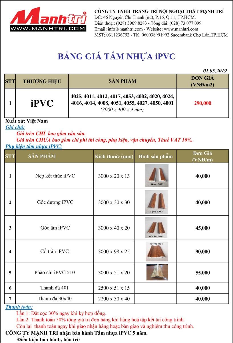 Bảng báo giá tấm nhựa iPVC