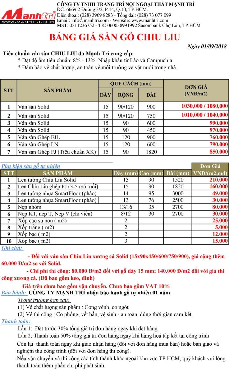 Bảng báo giá sàn gỗ Chiu Liu