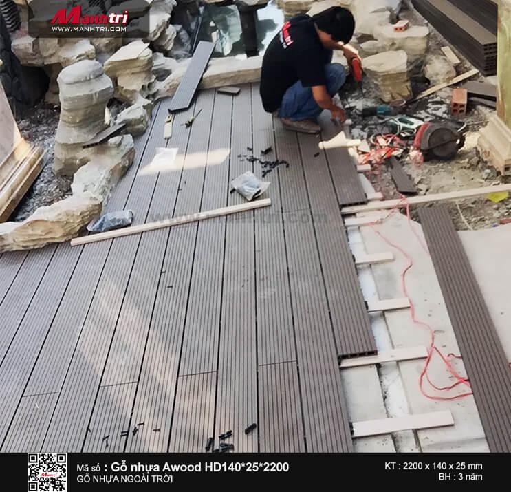 Gỗ Awood HD140*25*2200mm màu coffee lót sàn ngoài trời tại Châu Thành, Sóc Trăng