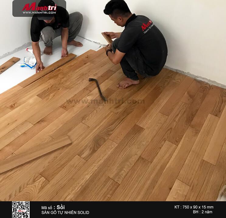 Thi công sàn gỗ tự nhiên Sồi Trắng Solid tại Phổ Quang, Q. Tân Bình. TP.HCM