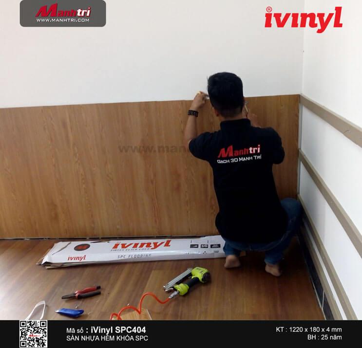 Thi công sàn nhựa hèm khóa iVinyl SPC 404 tại Võ Thị Thừa, Q. 12 (bên hông Tu viện Khánh An)