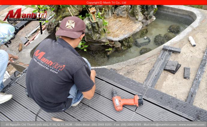 Gỗ nhựa Awood HD135x25 lót sàn hồ bơi ngoài trời tại quận Thủ Đức, TPHCM