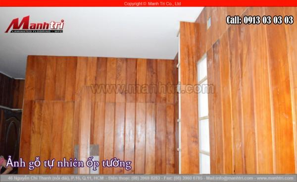 Ốp tường nhà bằng gỗ tự nhiên Gõ Đỏ tại quận 11, TPHCM