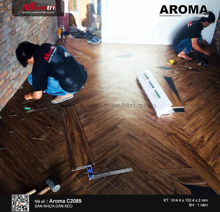 Thi công sàn nhựa dán keo Aroma C2089 tại Metro Thảo Điền, Quận 2, TP.HCM