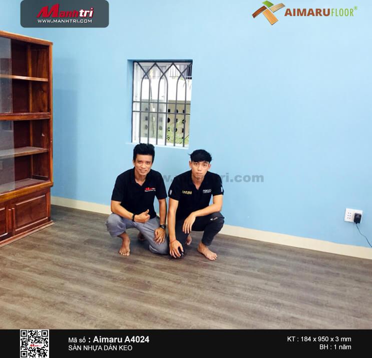 Thi công sàn nhựa dán keo Aimaru 4024 tại Phước Long A, Q9, TP.HCM