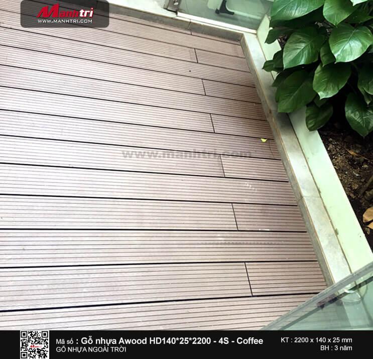 Thi công gỗ Awood HD140*25*2200mm màu coffee lót sàn ngoài trời tại Quận 3, TP.HCM