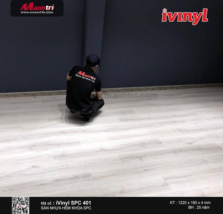 Thi công sàn nhựa hèm khóa iVinyl SPC401 tại Phan Văn Trị, Q.Gò Vấp