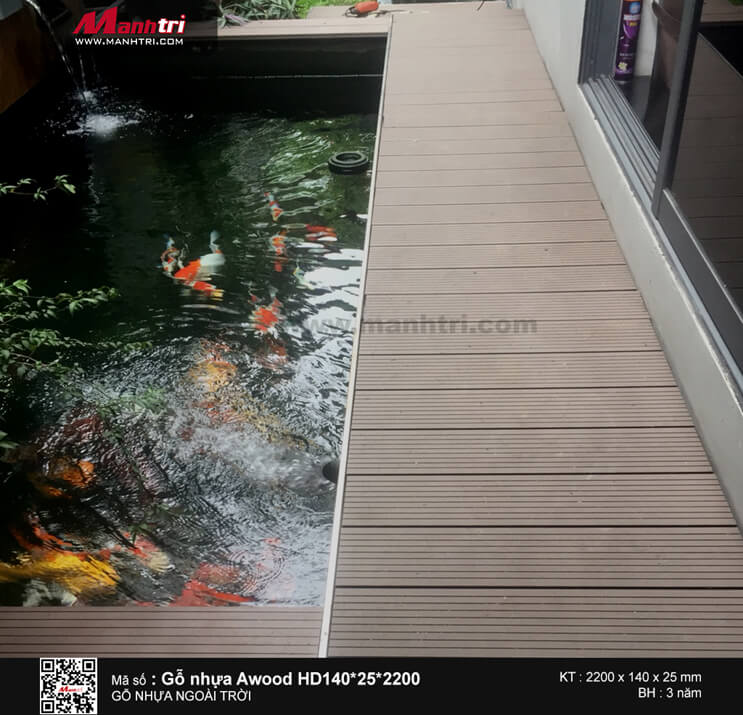 Gỗ Awood HD140*25*2200mm màu coffee lót sàn ngoài trời tại Đường Trục, Q. Bình Thạnh, TP.HCM
