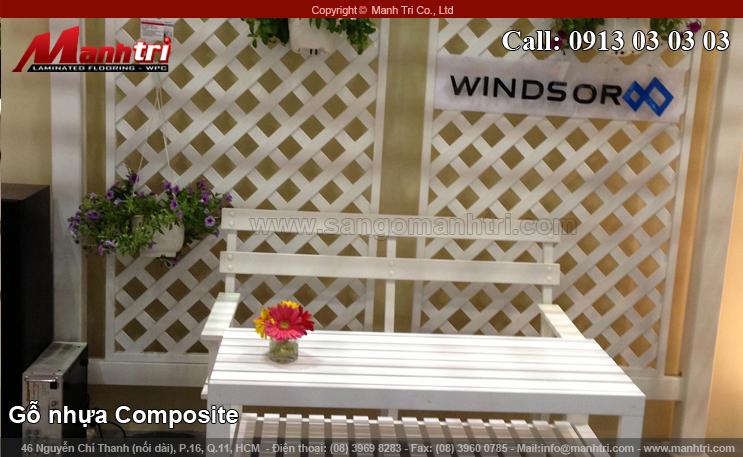 Gỗ nhựa Composite trang trí gian hàng Winsor ở VietBuild quận 7, TPHCM