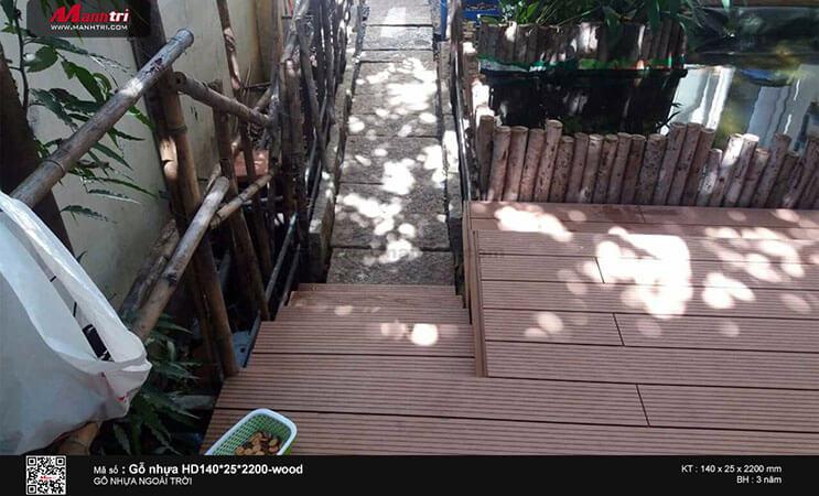 Thi công gỗ nhựa ngoài trời Awood HD140*25*2200 tại Tân Thới Nhất, Q.12