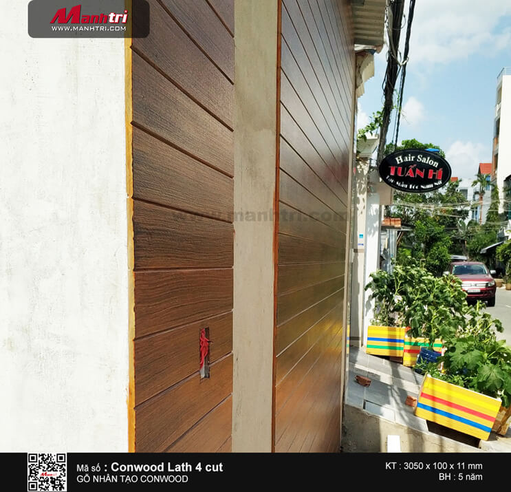 Gỗ Conwood lath 4cut 11mm ốp tường ngoài trời tại Tân Quy, Q.7, TPHCM