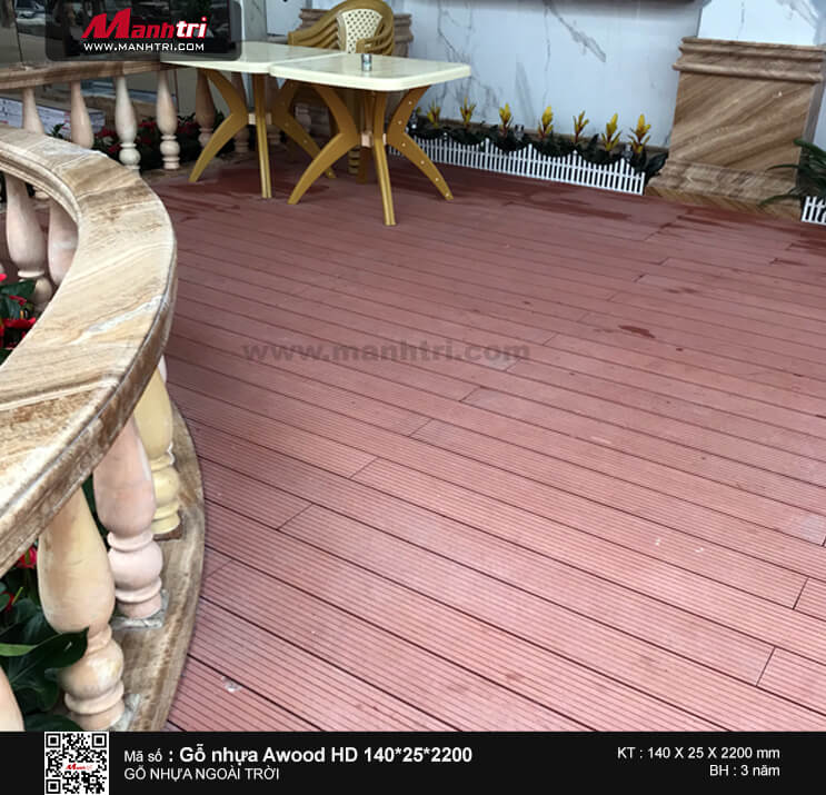 Gỗ Awood HD140*25*2200mm màu nâu đỏ lót sàn ngoài trời tại Châu Thành, Sóc Trăng